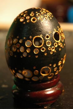 Black and Gold Swirl (this is how I learned black eggs are a pain in the ass.) - SOLD